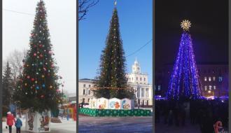 В Хмельницком на новогодние праздники установили пять елок в разных микрорайонах